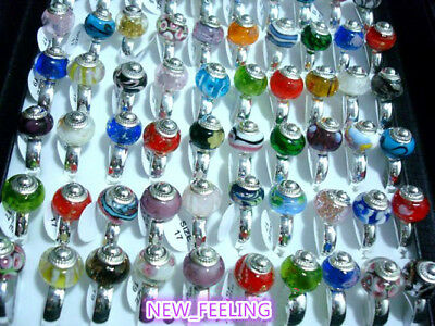 Wholesale jewelry 20 pcs Mixed European Style Lampwork Glass Copper Rings RG35