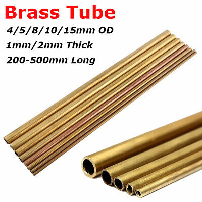 4/5/8/10/15mm OD Round Brass Tube Pipe Rod 1mm/2mm Wall 200/300/400/500mm Long
