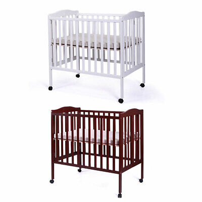 Foldable Cradle Pine Wood Baby Toddler Bed Nursery Infant Newborn w/ Mattress