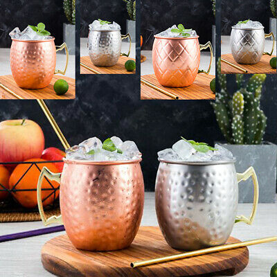 4Pcs 18oz Moscow Mule Mug Cup Drinking Hammered Glossy Latticed Copper Brass Bar