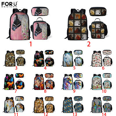 Horse Print Backpack School Bags Kids Lunch Pencil Bag Teenagers Laptop Rucksack