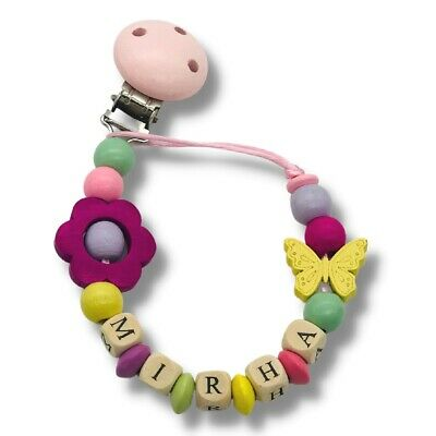 Personalized Dummy Clip Wooden Bead Pacifier Holder ~ Baby Girls ~ Fluffy Clouds