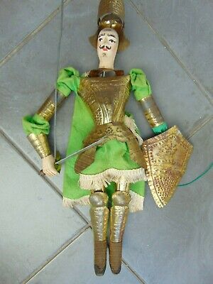 ANTIQUE 19th CENTURY HAND PAINTED WOOD & TIN VICTORIAN KNIGHT MARIONETTE PUPPET