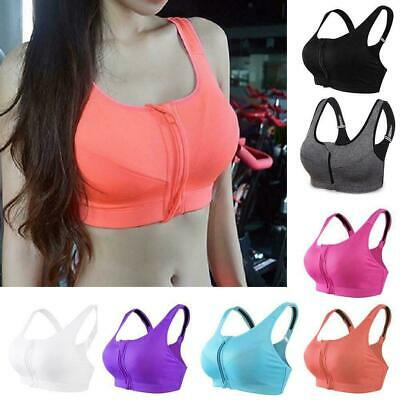 Women's Girl High Impact Front Zip Wireless Padded Top Gym Cup Tank Bra Spo X4L7