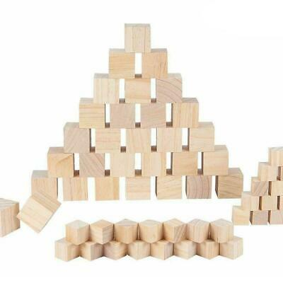 Wooden Square Pine Blocks Mini Cubes DIY Woodwork Craft N0Y5