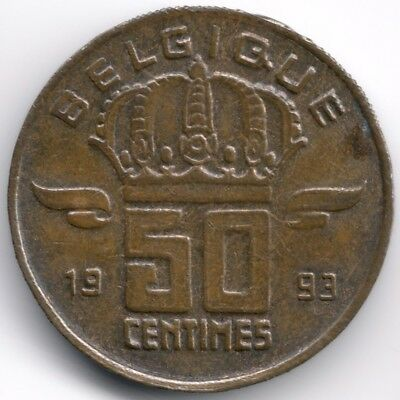 Belgium : 50 Centimes 1993 French Legend - Large Head
