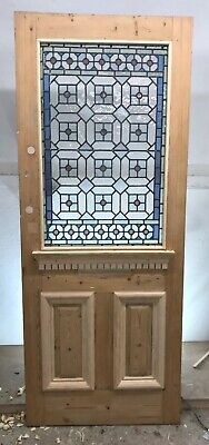 Victorian Stained Glass Front Door Reclaimed Old Antique Lead Period Pine Wood