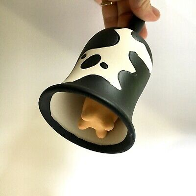 "Farmhouse Decor Ceramic Cow Bell with Handle Black and White Utters 7"" NWOT"