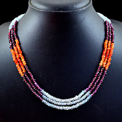 175.00 Cts Natural 3 Line Mix Gem Round Shape Faceted Beads Necklace NK 56E114