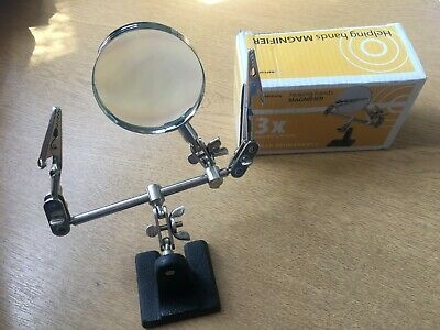 HELPING HANDS 3x MAGNIFYING GLASS IRON CROCODILE CLIPS   NEW   Z3293