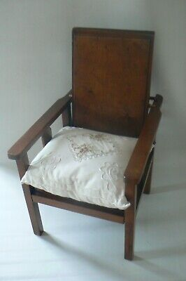 Vintage Small Wooden Chair Adjustable Back Child Doll Teddy Bear