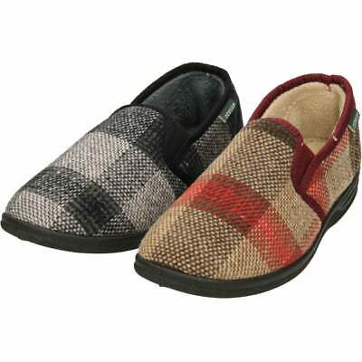 Dunlop Mens Warm Lined Twin Gusset Slippers Slip On Check Classic House Shoes