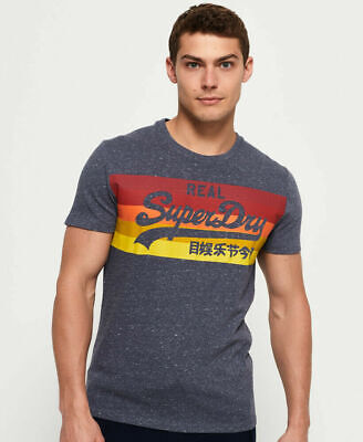 New Mens Superdry Vintage Logo Cali Stripe T-Shirt Sunbleached Navy