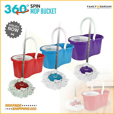 360 Degree Spinning Easy Clean Micro Fibre Extendable Mop and Bucket Cleaner Set