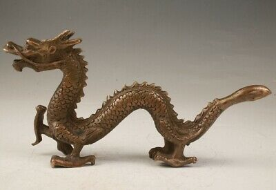Rare Chinese Bronze Handmade Carving Dragon Statue Sacred Old Collection