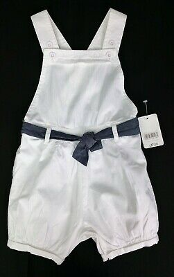 Baby Girls Clothes MOTHERCARE White Cotton Dungaree Shorts 9-12 & 12-18 Months