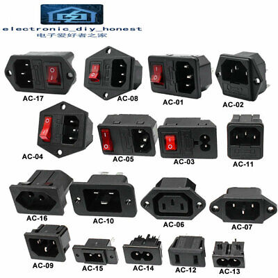 AC Socket 2/3pin red LED 250V 10A fuse female male inlet plug connector