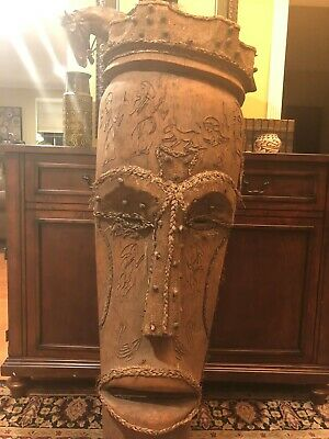Large Tribal Antique African Mask Five Foot Tall Wood Hand Carved Native Art