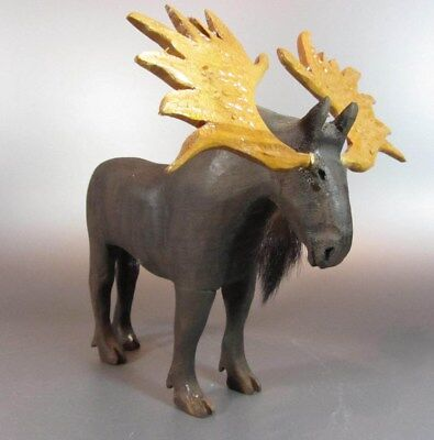 Folk Art Wood Carved Moose Orignal Primitive Naive paint Unsigned Gasp Qc Canada