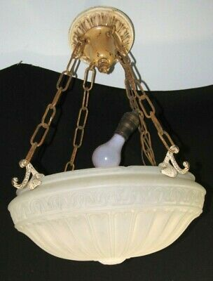 "Art Nouveau Hanging Ceiling Light Shade,Chandelier+Chain,16"" wide Glass Lamp"