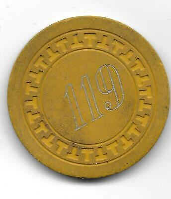 Obsolete Illegal Casino Chip From 119 (CLUB) Jeffersonville, In.-CG047157-C-1949
