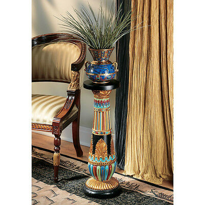 Egyptian Style Hand Painted Regal Column Architectural Pedestal Plant Stand