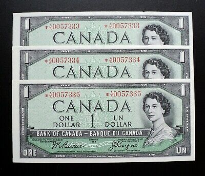 1954 Bank of Canada $1 Set of 3 Consecutive Replacement *A/A Cut out of register