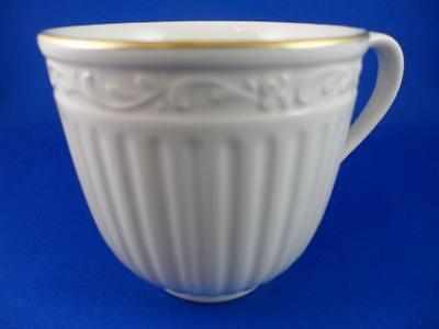 Coffee Tea Cup: MIKASA Empire Gold~DD905~Off White Ribbed Embossed Tall 3-1/8""