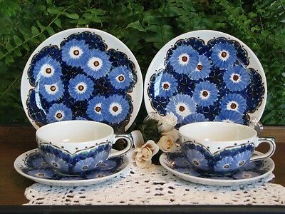 6 PieceTeacup Sets: Vintage German DECO ges.gesch &Krautheim Selb Blue Pottery