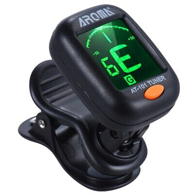 Aroma At-101 Digital Clip-On Electric Guitar Tuner Foldable Rotating Clip H G5E6