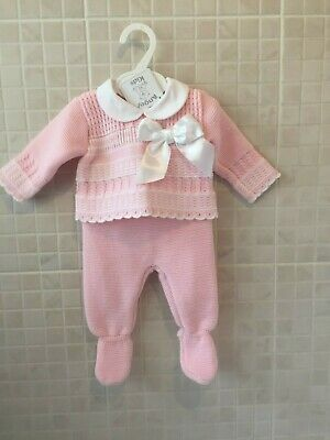 Baby Girl Clothes Knitted Spanish Romany Style Suit set Pink  0-3 3-6 months