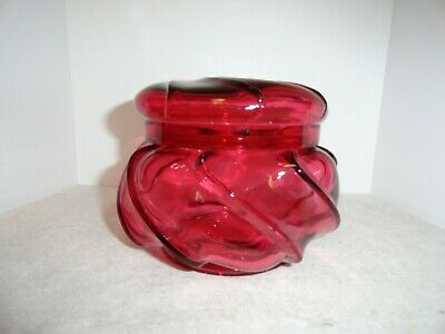 Fenton Cranberry Wave Crest Covered Candy Box