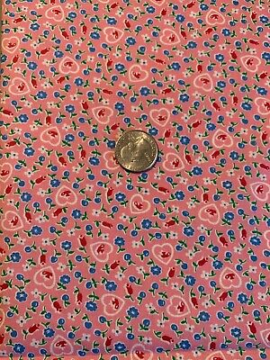 """Vtg 30s 40s Cotton Fabric Pink Floral , Hearts & Cherries 35"""" W S To S By 37.5"""""""