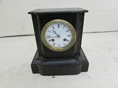 Victorian Wooden Slate Effect Mantel Clock, Japy Freres & Cie Medaille D'honneur