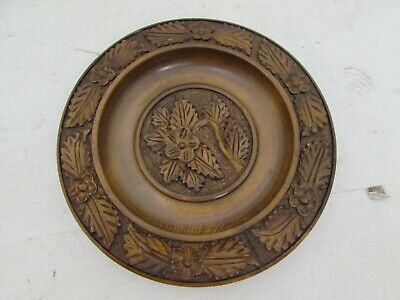"""Vintage French Wooden Carved Plate / Tray / Shallow Bowl, Floral Carvings 10.5"""""""