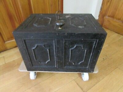 Antique 19th Century Cast Iron Safe / Strongbox Complete With Key