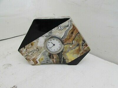 Rare Art Deco Period Art Pottery Clock With Marble Effect Case, Fully Running