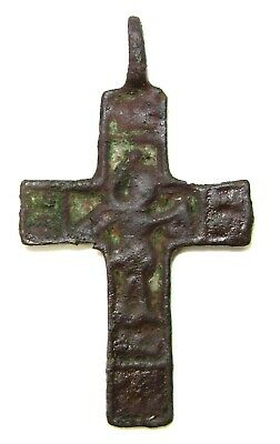 "Ancient Rare Medieval bronze cast cross / pendant with ""Nikita Besogon"" 15CAD"