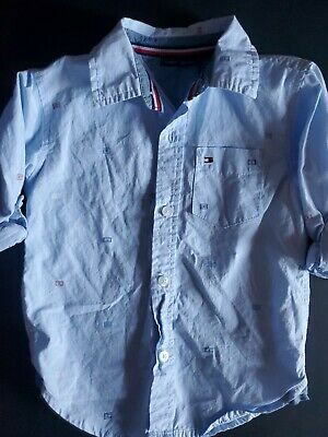 Tommy Hilfiger Shirt Toddler Size 3T Boys Button Up Pocket Logo