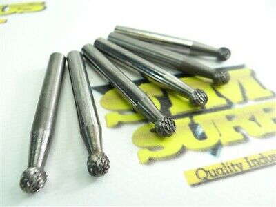 """Lot Of 6 Ball Type Solid Carbide Burrs 1/4"""" Shanks"""
