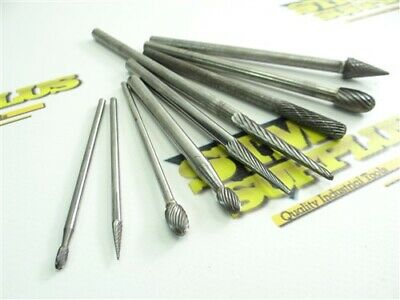 """Lot Of 9 Assorted Solid Carbide & Carbide Head Burrs 1/8"""" & 1/4"""" Long Shanks"""