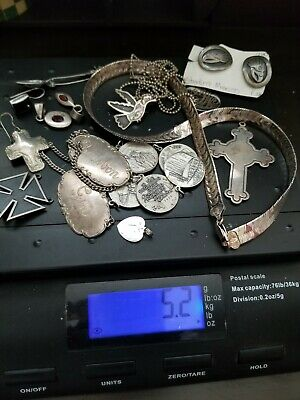 Sterling Silver Scrap Mixed Lot: Jewelry, Creamer, Spoon, Salt Shaker, Compotes