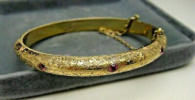 ANTIQUE DECO GILT SILVER HAND ENGRAVED RUBY or GARNET HINGED BANGLE BRACELET