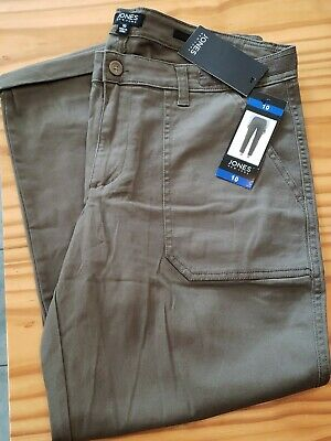 NWT Womens JONES NEW YORK The Chino Rustic Olive Roll Ankle Jeans Pants 10
