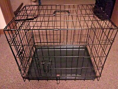 """Black 24"""" long 2 Door Pet Cage Dog Crate Cage Kennel w/Tray DC"""