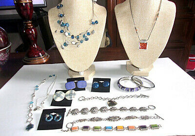 Jewelry Lot - 320 Premiere Designs 3 Bracelets 2 Sarah Coventry Necklaces Fossil