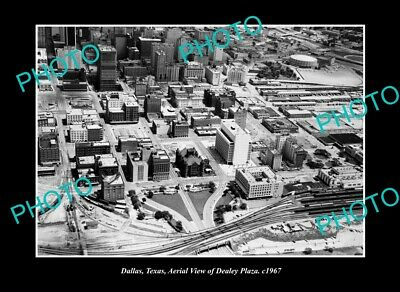 OLD LARGE HISTORIC PHOTO DALLAS TEXAS, AERIAL VIEW THE DEALEY PLAZA c1967