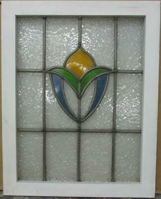 """MIDSIZE OLD ENGLISH LEADED STAINED GLASS WINDOW Pretty Abstract 19.5"""" x 24.5"""""""