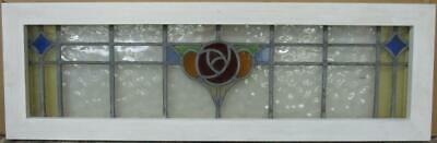 "OLD ENGLISH LEADED STAINED GLASS WINDOW TRANSOM Colorful Floral 35"" x 11.25"""
