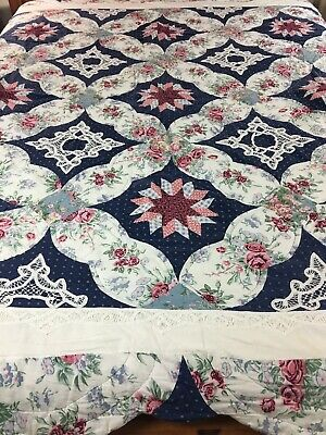 "Romantic Floral Vintage Star And Tape Lace Patchwork  Quilt 96"" X 86"""